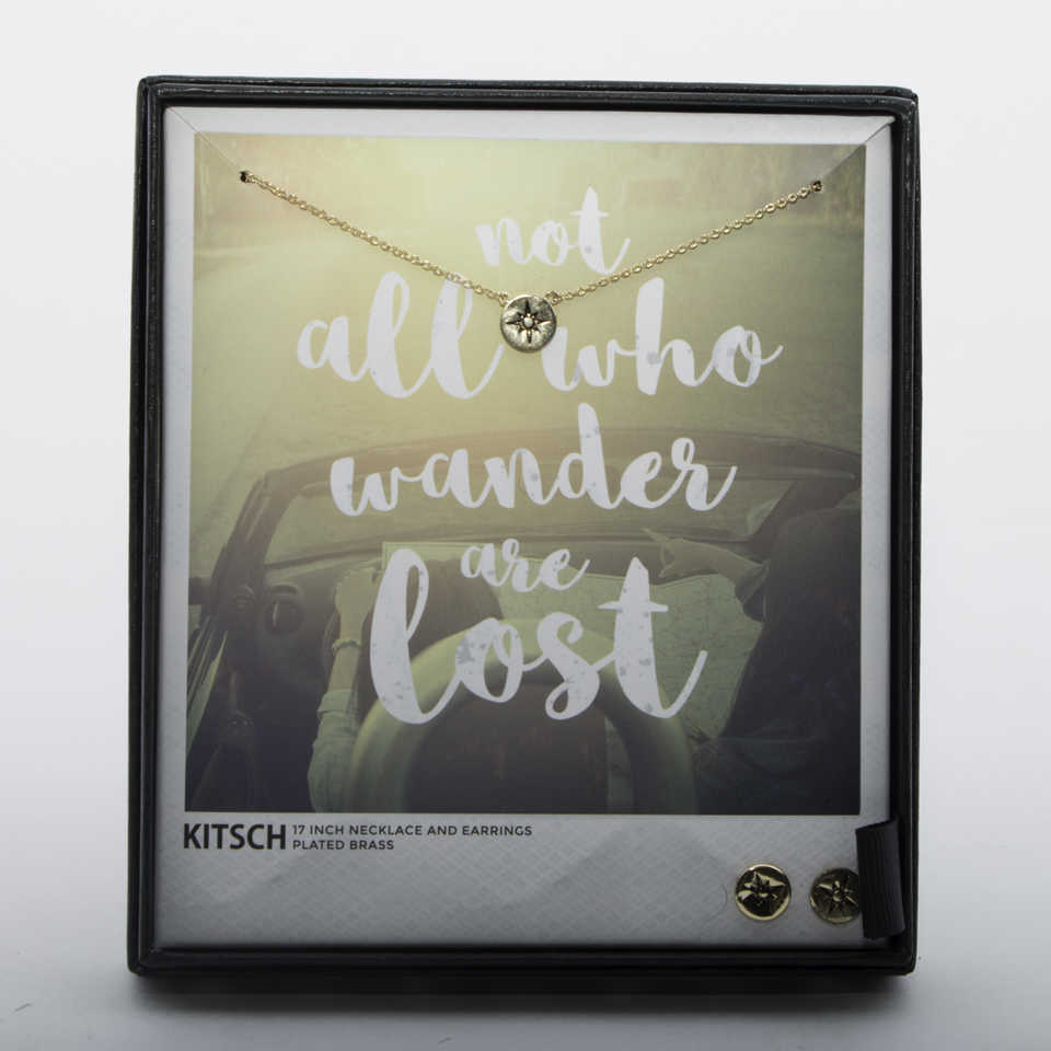 Not All Who Wander Are Lost Necklace & Earrings Set