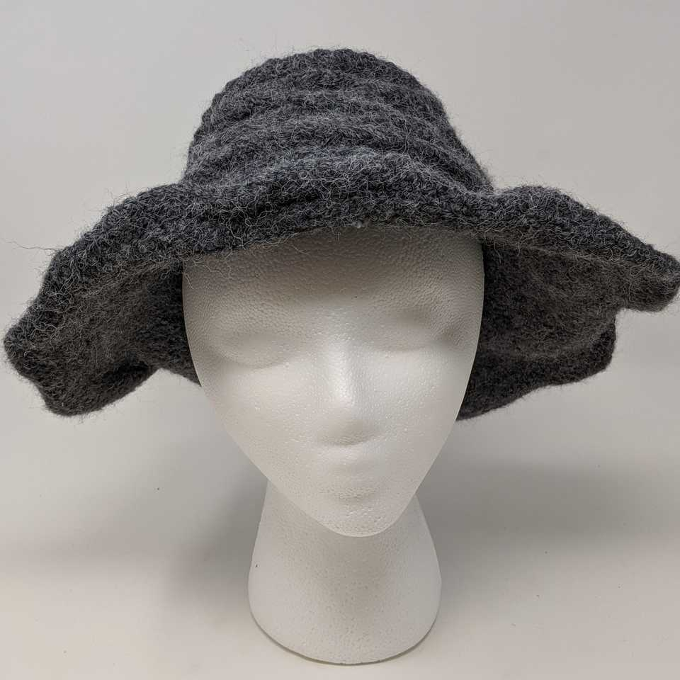 Grey Wide-Brimmed Hat